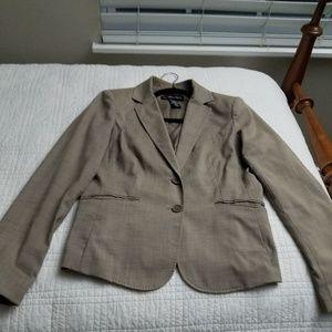 Beige printed blazer and dress pants